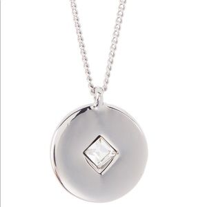 Halogen Inlaid Stone Disc Pendant Necklace